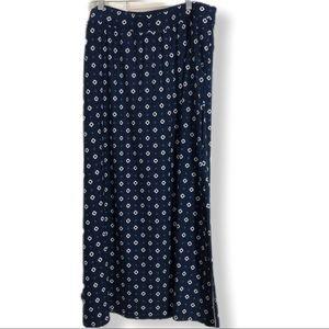 blue geometric print maxi skirt with pockets